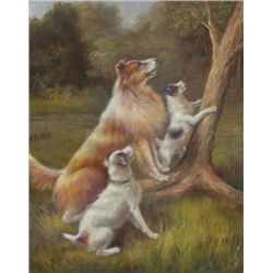 8 X 10 Oil on Board ~Dogs at Play~