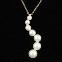 White Pearl Journey Pendant & Chain Necklace In 10K Gold