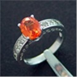 Diamond &amp; Created Orange Sapphire Ring in 10K White Gold
