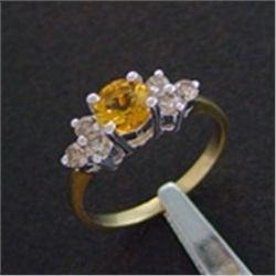 Genuine Diamond & Citrine Ring in 10K Gold