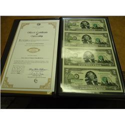UNCUT SHEET OF 4-2003-A $2 FRN'S CRISP UNC