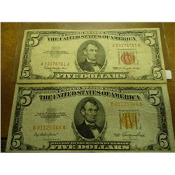 1953 & 63 US $5 NOTES RED SEALS