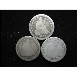 3-1888-S SEATED LIBERTY QUARTERS