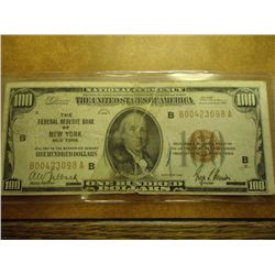 1929 US $100 NATIONAL CURRENCY NEW YORK