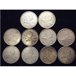 10 ASSORTED 1960'S SILVER QUARTERS