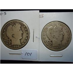 1900-S &amp; 03 BARBER HALF DOLLARS