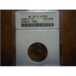 ERROR 2000-P JEFFERSON NICKEL STRUCK THROUGH