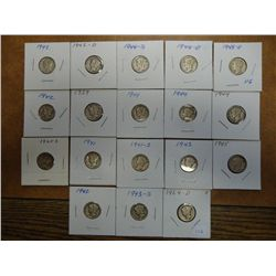 18 ASSORTED MERCURY DIMES