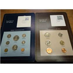 2 COIN SETS OF ALL NATIONS COLONY OF ST. HELENA &