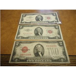 1928-D,53 & 63-A TWO DOLLAR US NOTES RED SEALS