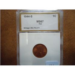 1944-S LINCOLN CENT PCI MS67 RED