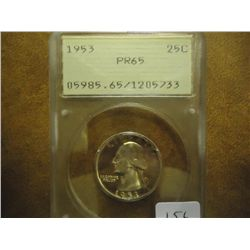 1953 WASHINGTON SILVER QUARTER PCGS PR65