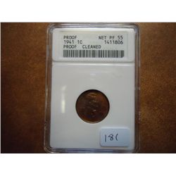 1941 LINCOLN CENT ANACS NET PF55 CLEANED