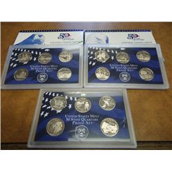 2001,2002 & 05 US 50 STATE QUARTERS PROOF SETS