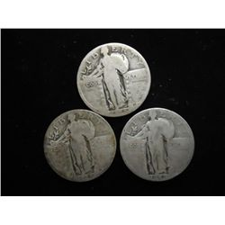3 ASSORTED STANDING LIBERTY QUARTERS