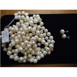 FRESHWATER PEARL NECKLACE 66  &amp; EARRING SET