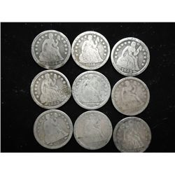 9 ASSORTED 1850'S SEATED LIBERTY DIMES