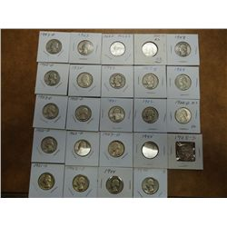 24 ASSORTED WASHINGTON SILVER QUARTERS