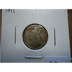 1891 SEATED LIBERTY DIME (VERY FINE)