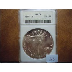 1987 AMERICAN SILVER EAGLE ANACS MS68