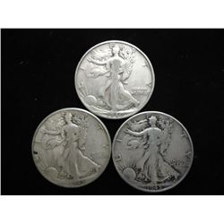 3 ASSORTED WALKING LIBERTY HALF DOLLARS