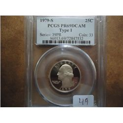 1979-S TYPE I WASHINGTON QUARTER PCGS PR69 DCAM