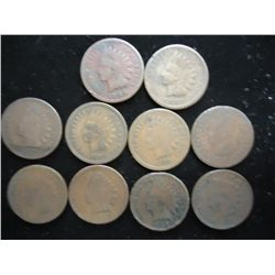 10 ASSORTED 1800'S INDIAN HEAD CENTS