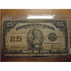 1923 CANADA 25 CENT FRACTIONAL NOTE