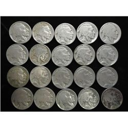 20 ASSORTED 1930'S BUFFALO NICKELS