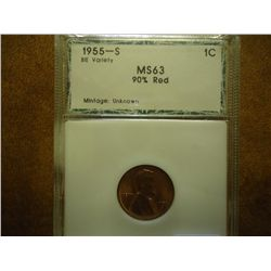 1955-S BIE VARIETY LINCOLN CENT PCI MS63 90% RED