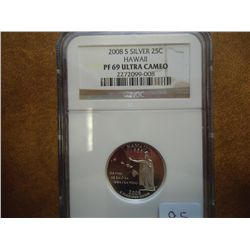 2008-S SILVER HAWAII QUARTER NGC PF69 ULTRA CAMEO
