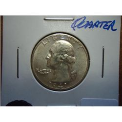 1941-D WASHINGTON SILVER QUARTER (UNC)