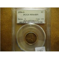 1954-S LINCOLN CENT PCGS MS64 BN