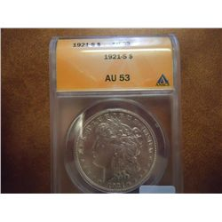 1921-S MORGAN SILVER DOLLAR ANACS AU53