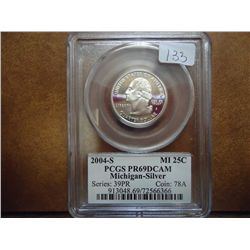 2004-S SILVER MICHIGAN QUARTER PCGS PR69 DCAM