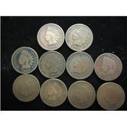 10 ASSORTED 1900'S INDIAN HEAD CENTS