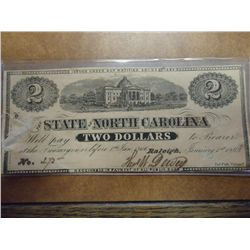 NORTH CAROLINA $2 OBSOLETE NOTE HAND SIGNED