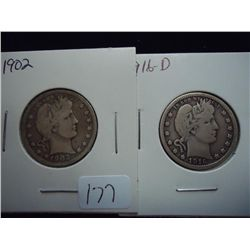 1902 (VERY GOOD) & 16-D VERY GOOD BARBER QUARTERS
