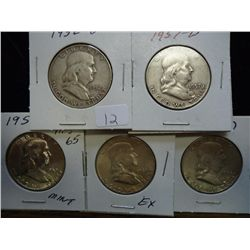 1952-D,57-D,59-D (UNC),61 & 62 FRANKLIN HALVES