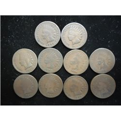 10 ASSORTED 1880'S INDIAN HEAD CENTS