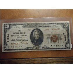 1929 US $20 NATIONAL CURRENCY (HARRISONBURG, VA)