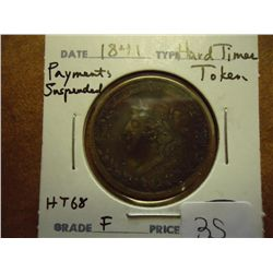 1841 HARD TIMES TOKEN HT-68