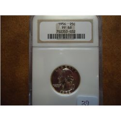 1956 WASHINGTON SILVER QUARTER NGC PF68