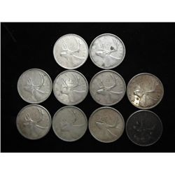 10 ASSORTED CANADA 1960'S SILVER 25 CENTS
