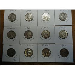 12-1940'S WASHINGTON SILVER QUARTERS