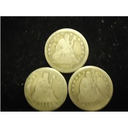 3 ASSORTED SEATED LIBERTY QUARTERS