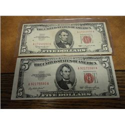 1953 & 63 $5 US NOTES RED SEALS