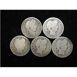5 ASSORTED BARBER QUARTERS