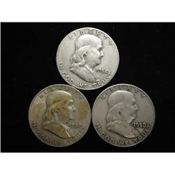 1954-S,57-D & 58-D FRANKLIN HALF DOLLARS