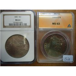 1882 MORGAN NGC MS63 & 1884-O MORGAN ANACS MS63